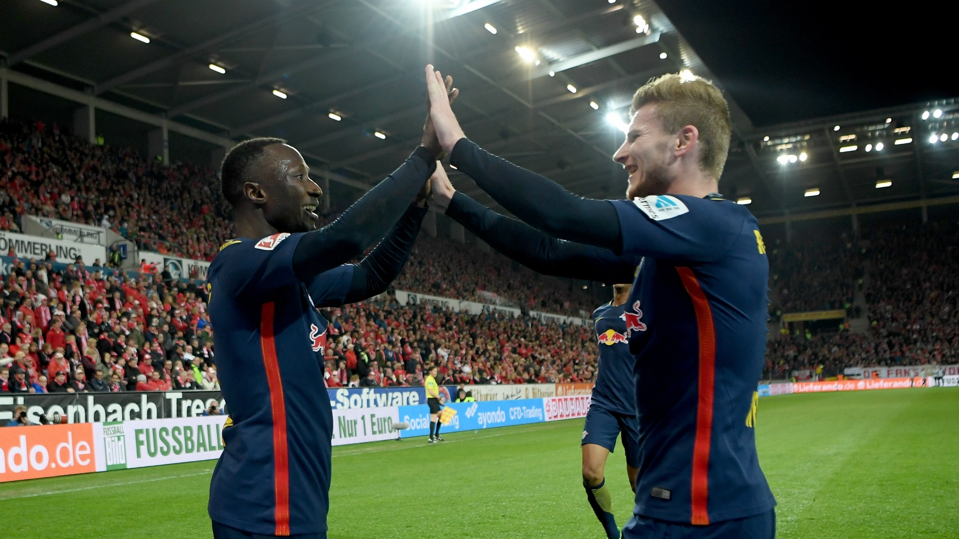 Naby Keita and Timo Werner of RB Leipzig