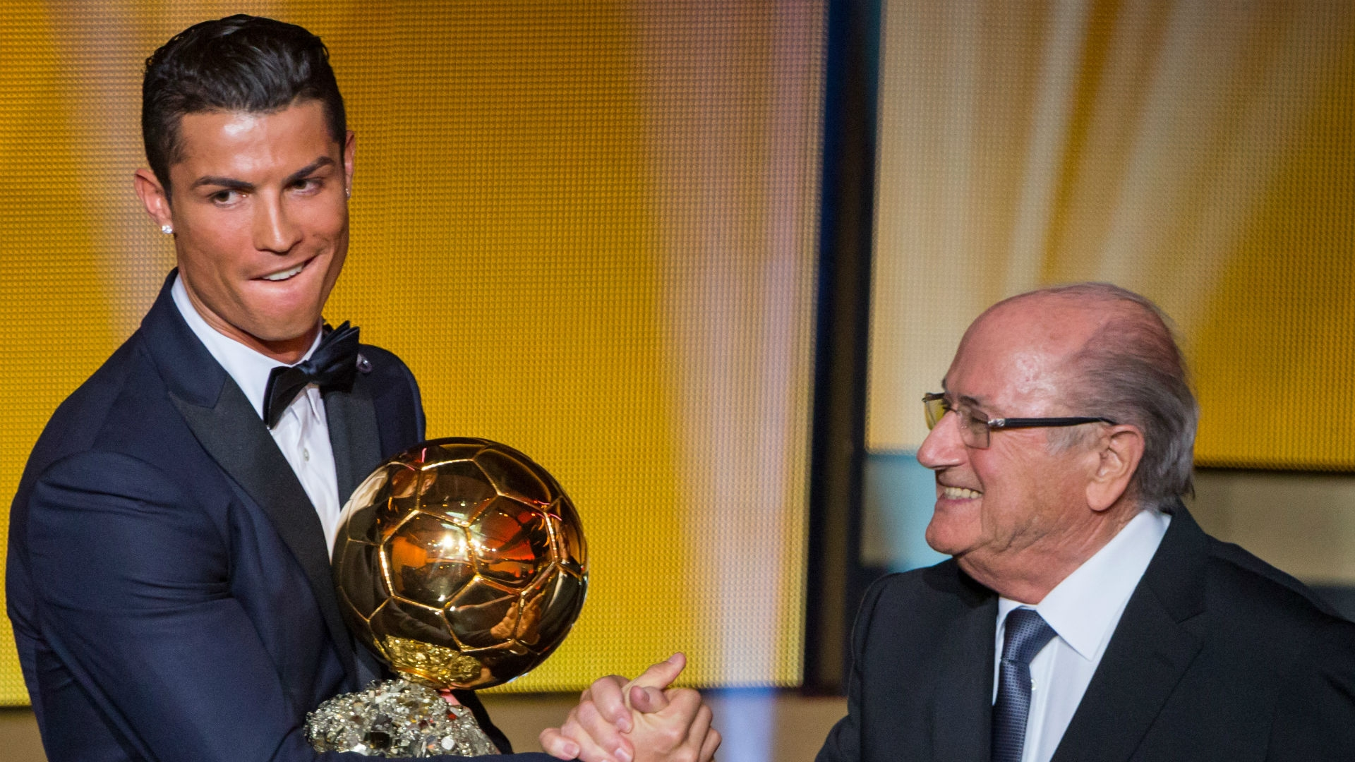 Sepp Blatter offering Golden Ball award to Cristiano Ronaldo