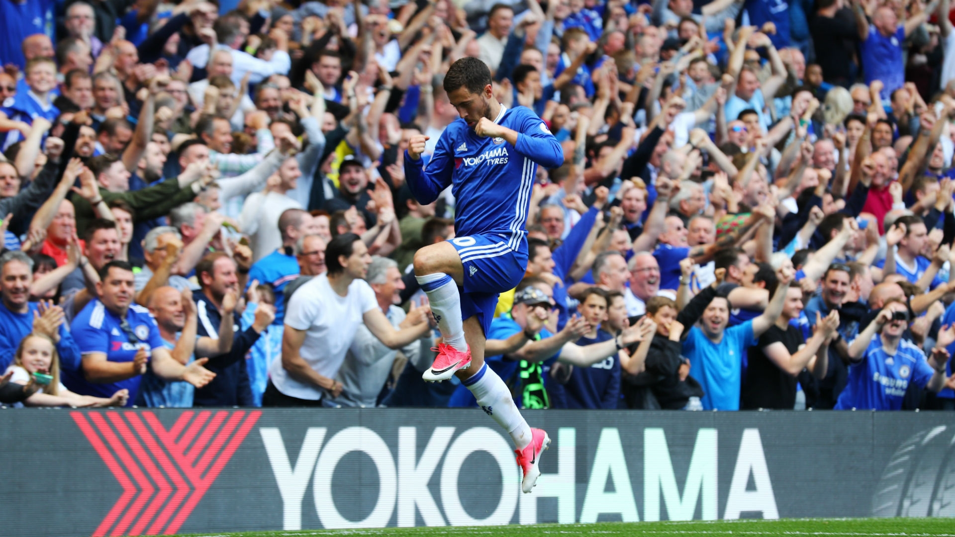 Hazard won the Premier League title with Chelsea this season