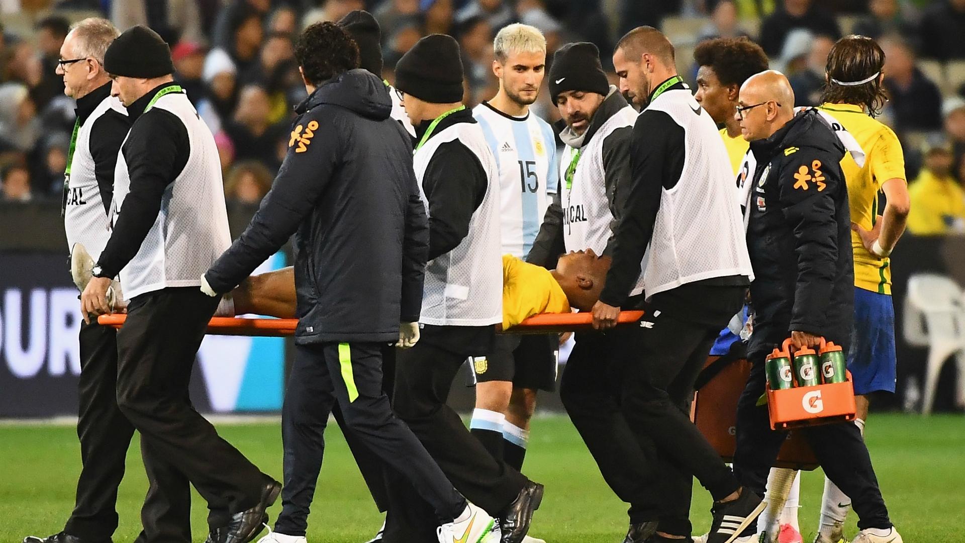 Brazilian Gabriel Jesus was injured in the friendly game against Argentina