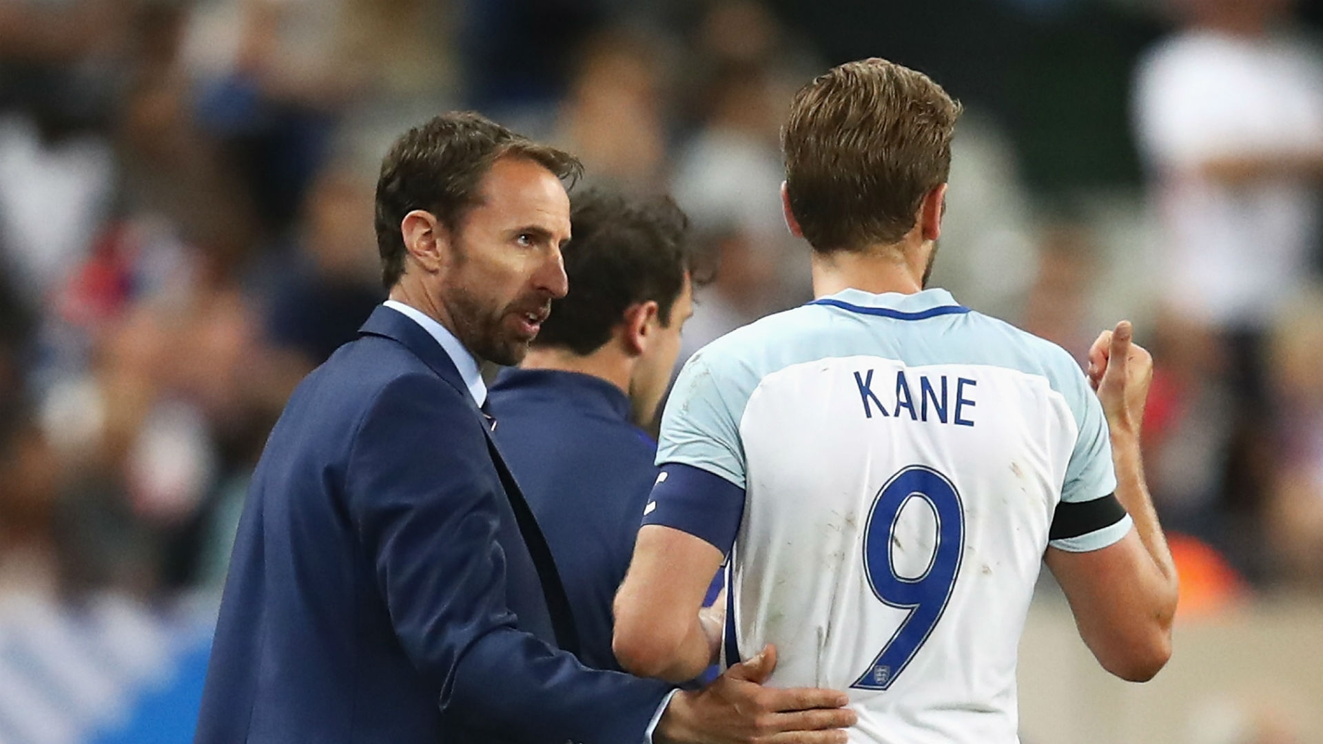 Gareth Southgate and Harry Kane in the friendly of France vs. England