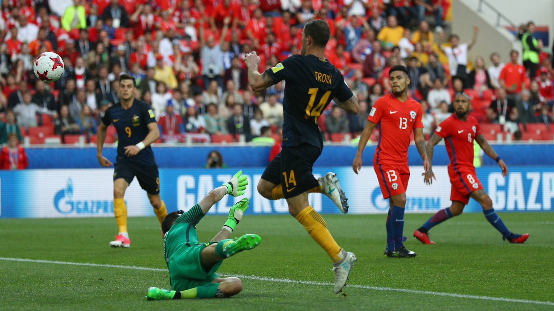 Australia needed to win by a two-goal margin in order to qualify for the semi-finals of the Confed Cup.