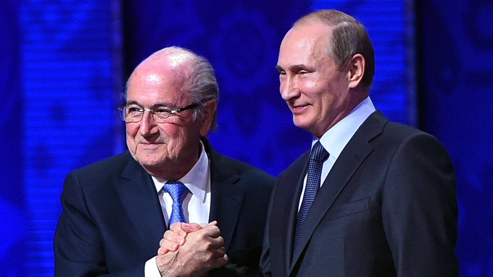 Sepp Blatter and Russia president Vladimir Putin