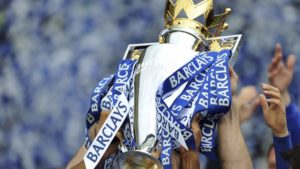 Chelsea winning Premier League trophy for 2016-17 season. The Premier League is one of the fantasy football contest include din the FootballCoin game