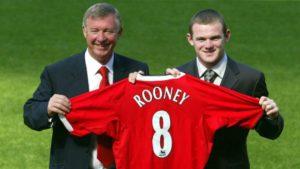 Wayne Rooney with Sir Alex Ferguson at Manchester United