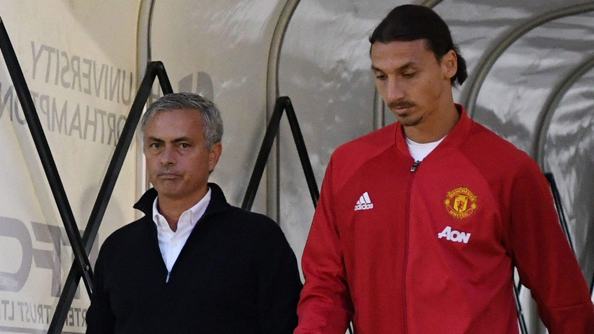 Manager Jose Mourinho and Ibrahimovic