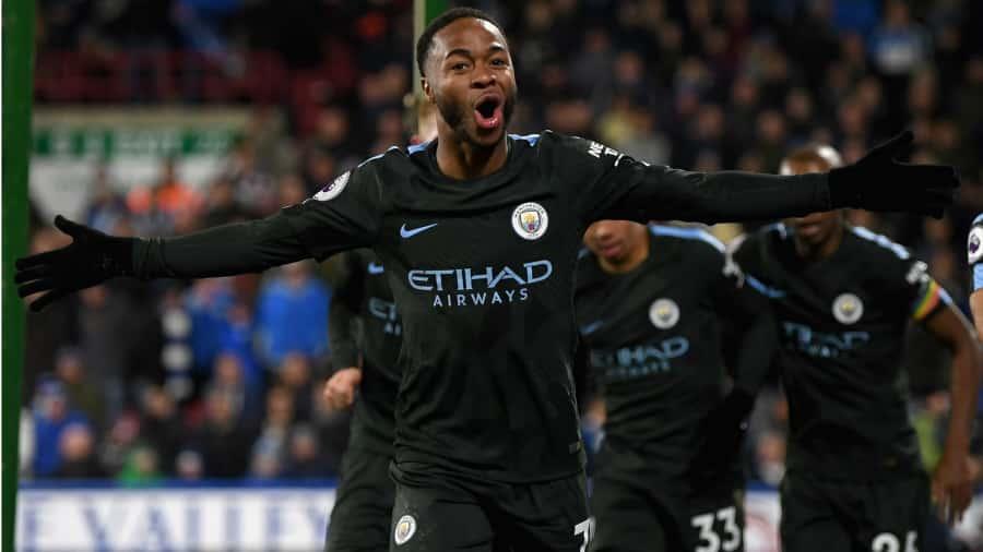 Raheem Sterling scoring Manchester City - Huddersfield