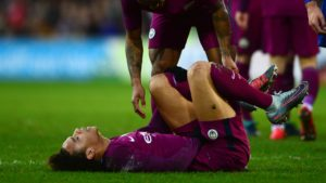 Sane following injury inflicted by Bennett of Cardiff City