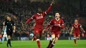 Sadio Mane scoring against Manchester City