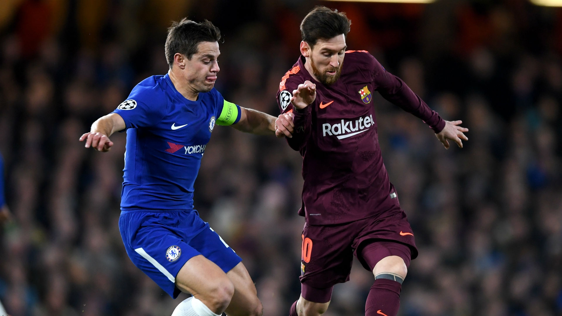 Azpilicueta challenging Lionel Messi for the ball