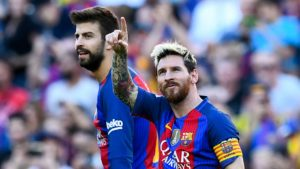 Lionel Messi and Gerard Pique