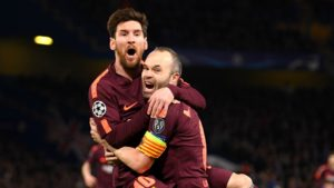 Messi and Iniesta celebrate goal in Chelsea clash