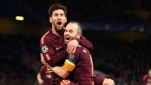 Messi and Iniesta celebrate goal in Chelsea clash