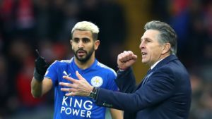 Riyad Mahrez and Leicester manager Claude Puel