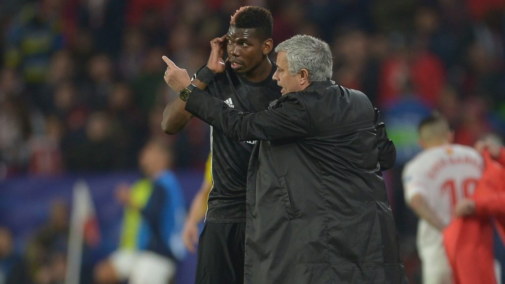 Paul Pogba and manager Jose Mourinho - Manchester United