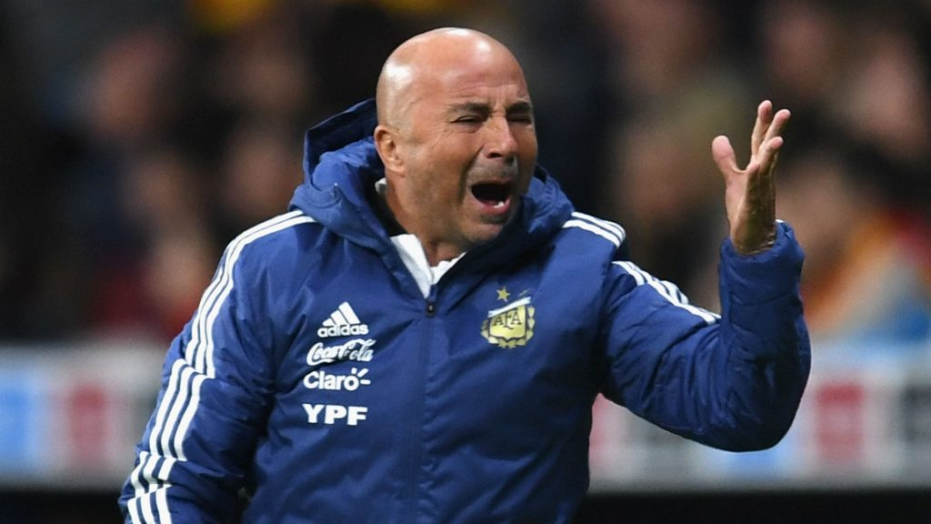 Jorge Sampaoli following the disastrous defeat by his tram against Spain