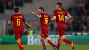 daniele de rossi scores in Roma's miracle score against Barcelona