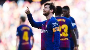 Lionel Messi scoring decisive goal for Barcelona
