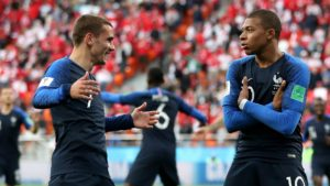griezmann and mbappe - france. ahead of semi final game against Belgium