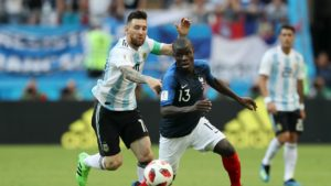 Messi (Argentin) against Kante (France)