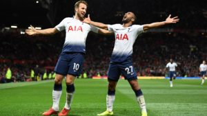 Harry Kae and Lucas Moura following the defeat against Tottenham