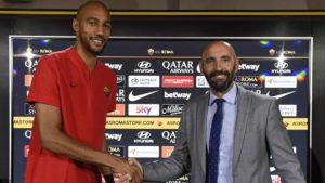 Steven N'Zonzi and AS Roma director Monchi. AS Roma signed N'Zonzi after the failure to sign malcom