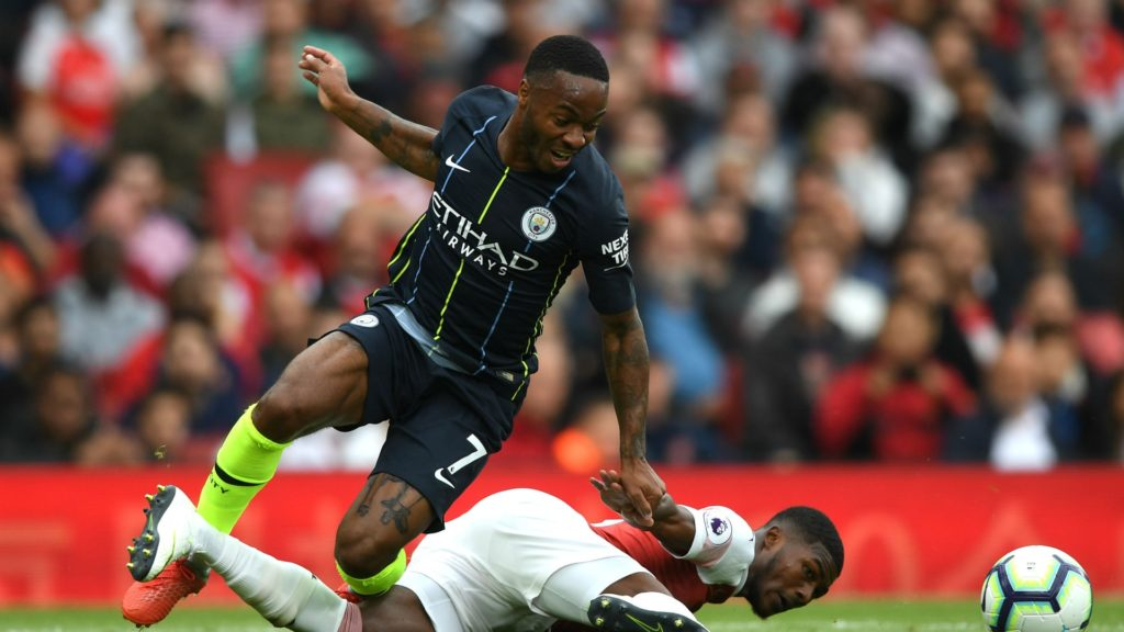raheem sterling in Manchester City;s first victory in English football's new Premier League season