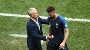 didier deschamps and olivier giroud - the tstriker becomes France's fourth greatest scorer