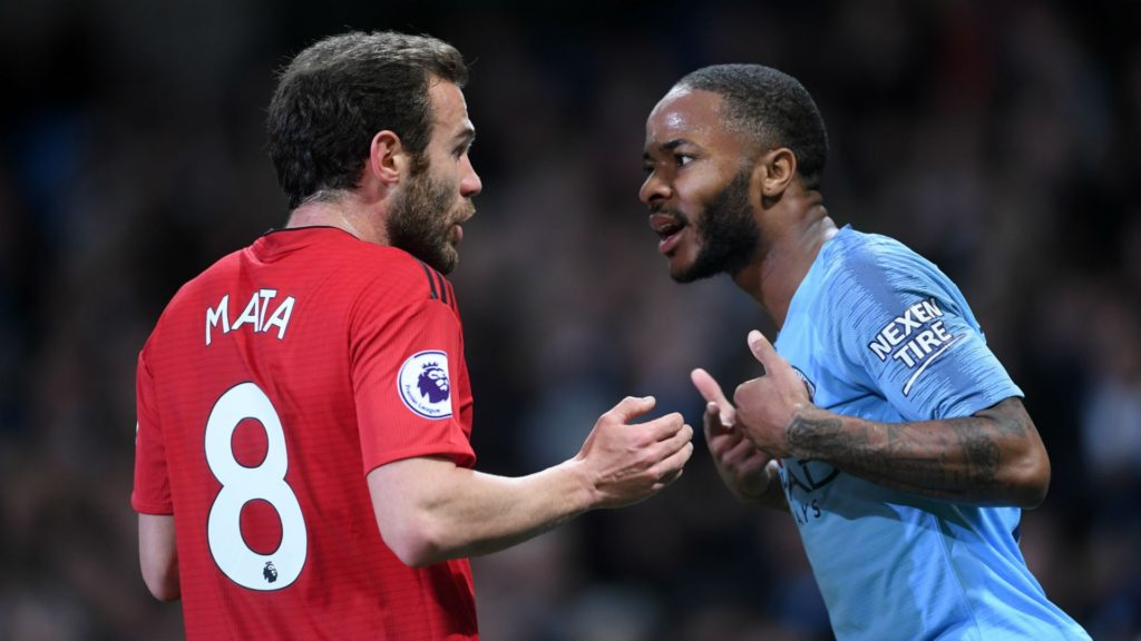 Juan Mata and Raheem Sterling in Manchester City vs. Manchester United dervy
