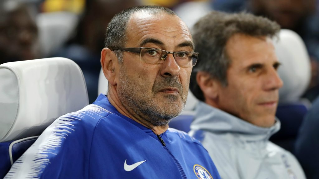 Maurizio Sarri, manager of Chelsea, looking to bring the team in fourth place in the Premier League, and into the Champpions League for next season