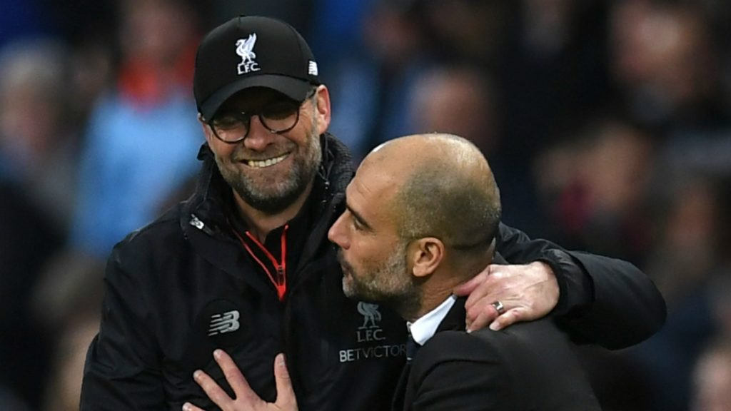 Pep Guardiola and Jurgen Klopp, the managers of Liverpool and Manchester City, the favorites to winning the Premier League