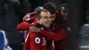 xherdan shaqiri scores twice to gift liverpool victory over manchester united