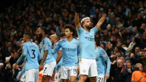 Sergio Aguero - Manchester City scores against Liverpool in Premier League derby