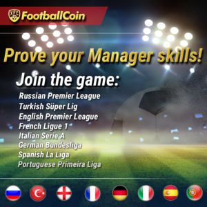 FootballCoin banner including the number of leagues contained by the fantasy football game