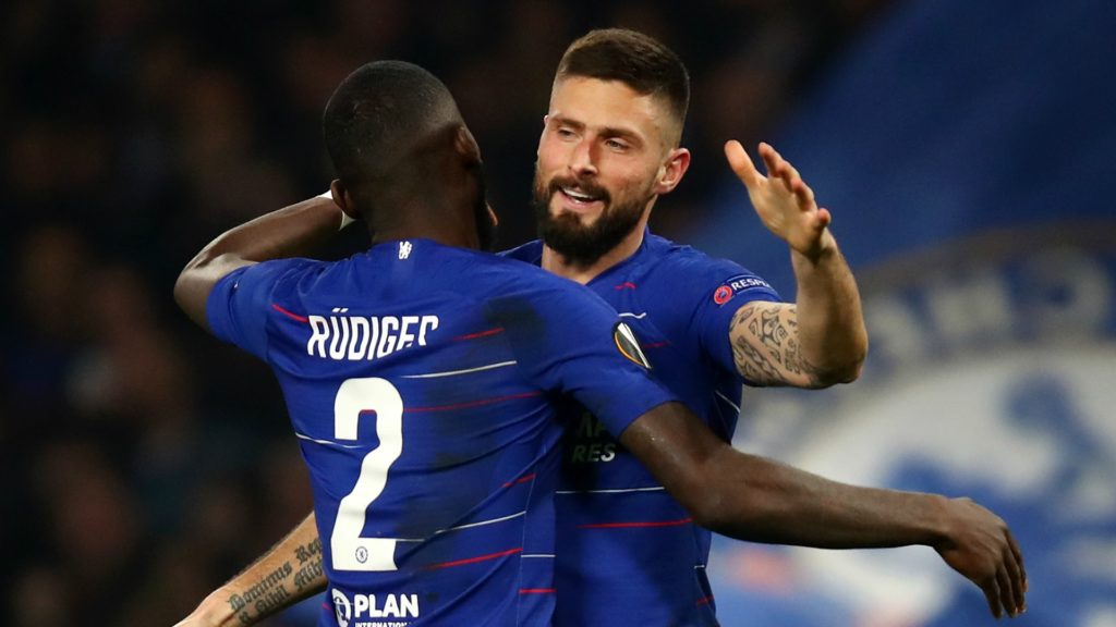 Olivier Giroud and Antonio Rudiger (Chelsea) in the Europa League